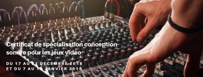 Enjmin - Certificat de spécialisation conception sonore pour les jeux vidéo